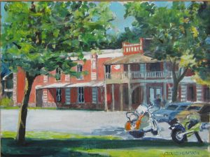 """""""Motorcycle Visitors,"""" a painting by Clovis Heimsath, artist (Architecture)"""