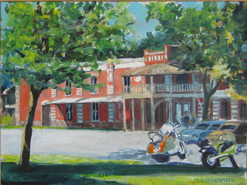 """Motorcycle Visitors,"" a painting by Clovis Heimsath, artist (Architecture)"