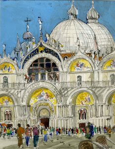 St. Mark's Cathedral in Venice, a watercolor by Clovis Heimsath, artist