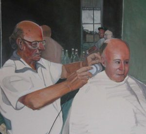 Barbershop, a painting by Clovis Heimsath, artist
