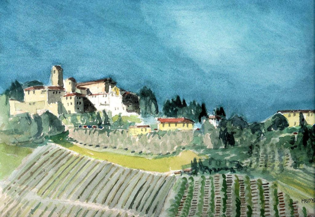 Mediterranean Vista, a watercolor by Clovis Heimsath, artist