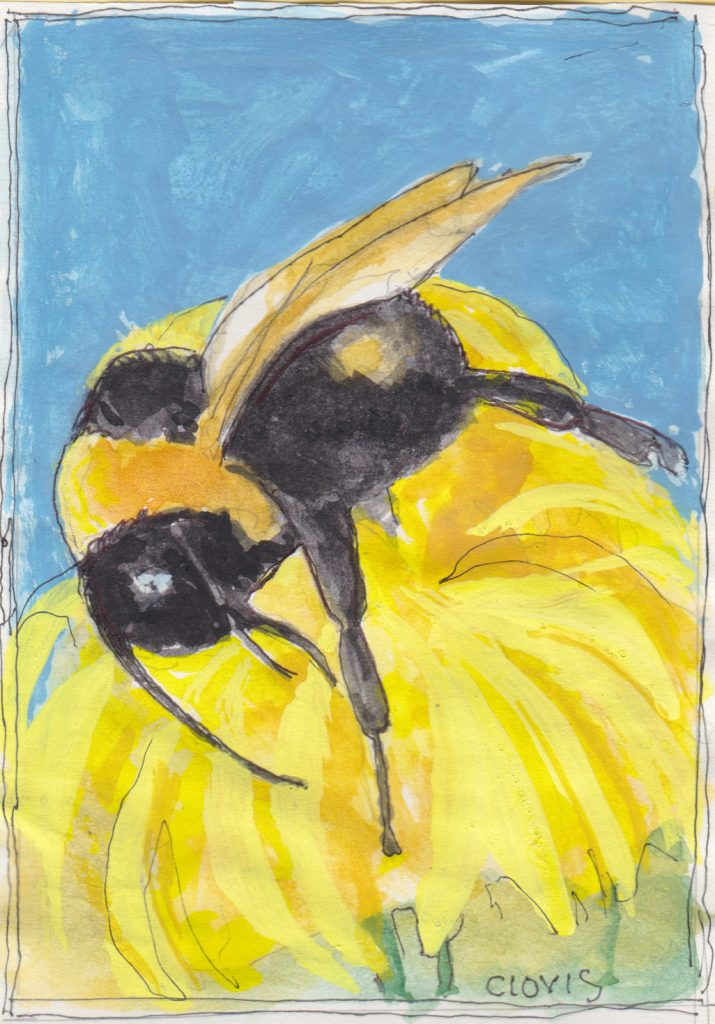 """Bumble Bee,"" a Bring-a-Smile watercolor by Clovis Heimsath, artist"