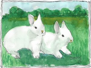 """Bunnies,"" a Bring-a-Smile watercolor by Clovis Heimsath, artist"