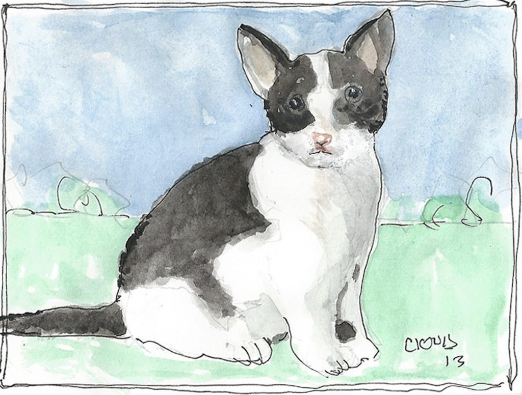 """Calico Cat,"" a Bring-a-Smile watercolor by Clovis Heimsath, artist"