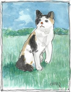 """Calico Cat Real,"" a Bring-a-Smile watercolor by Clovis Heimsath, artist"