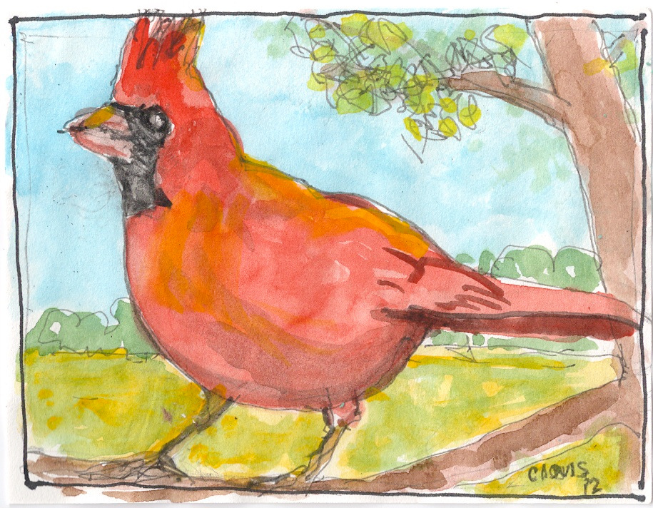 """Cardinal,"" a Bring-a-Smile watercolor by Clovis Heimsath, artist"