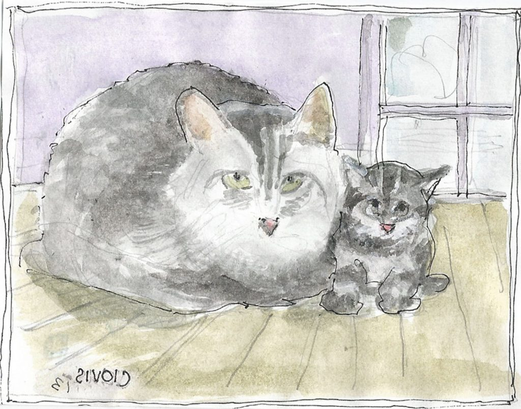 """Cat And Kitten 2,"" a Bring-a-Smile watercolor by Clovis Heimsath, artist"
