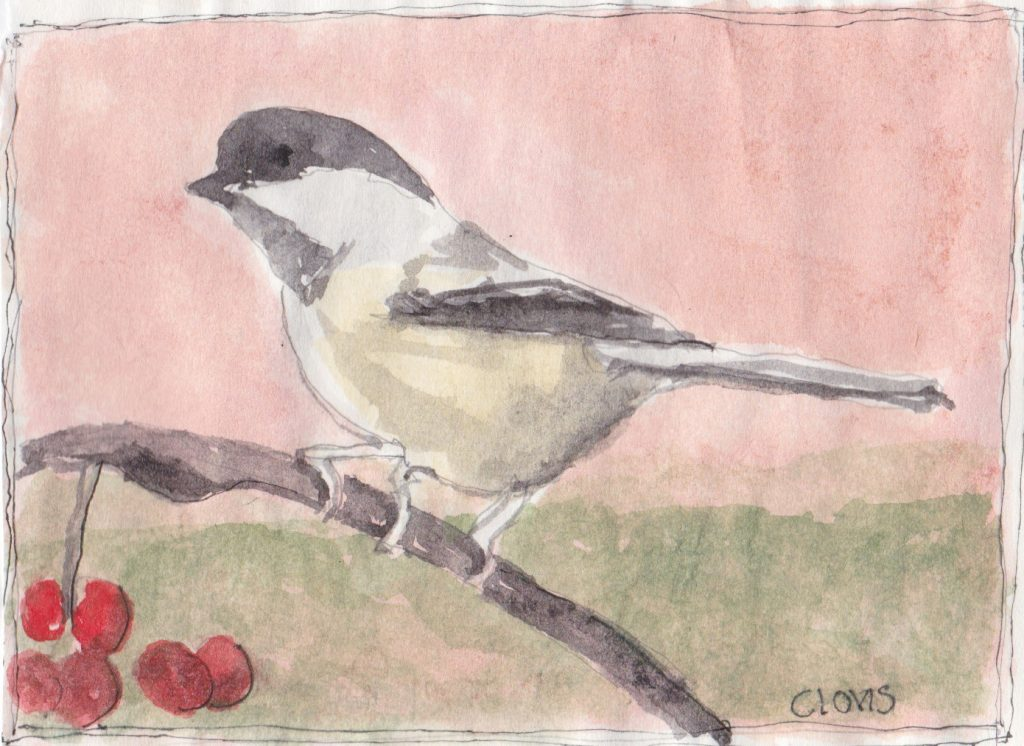 """Chickadee,"" a Bring-a-Smile watercolor by Clovis Heimsath, artist"