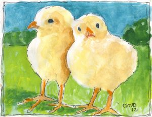 """Chicks,"" a Bring-a-Smile watercolor by Clovis Heimsath, artist"