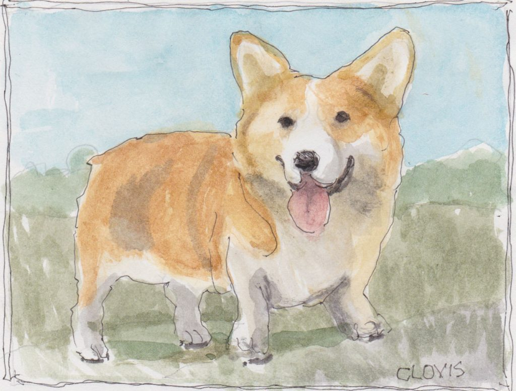 """Corgi,"" a Bring-a-Smile watercolor by Clovis Heimsath, artist"