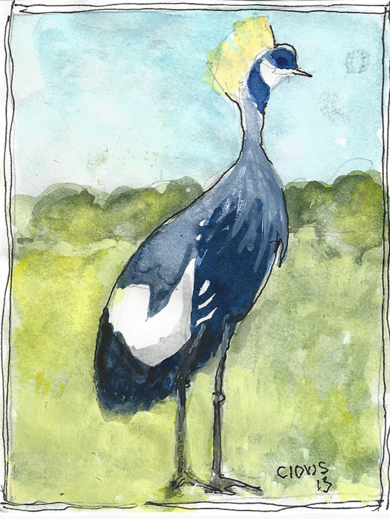 """Crane,"" a Bring-a-Smile watercolor by Clovis Heimsath, artist"