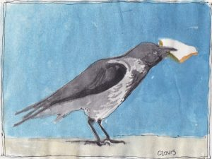 """Crow,"" a Bring-a-Smile watercolor by Clovis Heimsath, artist"