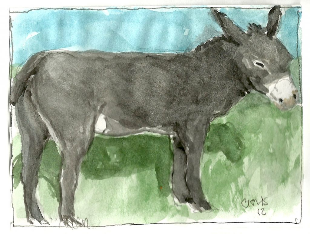 """Donkey ,"" a Bring-a-Smile watercolor by Clovis Heimsath, artist"