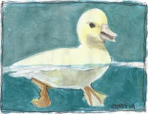 """Duckling,"" a Bring-a-Smile watercolor by Clovis Heimsath, artist"