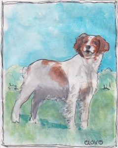 """English Spaniel,"" a Bring-a-Smile watercolor by Clovis Heimsath, artist"