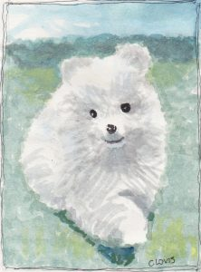 """Eskimo Puppy,"" a Bring-a-Smile watercolor by Clovis Heimsath, artist"