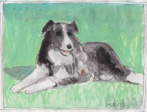 """Farm Dog,"" a Bring-a-Smile watercolor by Clovis Heimsath, artist"