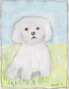 """Fluffy Dog,"" a Bring-a-Smile watercolor by Dawn Heimsath, artist"