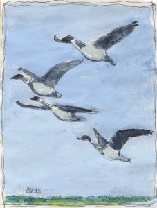 """Geese 7,"" a Bring-a-Smile watercolor by Clovis Heimsath, artist"