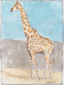 """Giraffe 2,"" a Bring-a-Smile watercolor by Clovis Heimsath, artist"