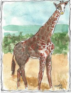 """Giraffe,"" a Bring-a-Smile watercolor by Clovis Heimsath, artist"