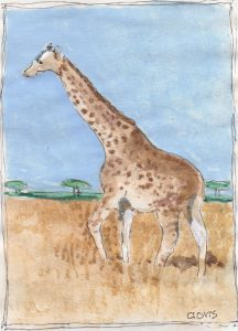 """Giraffe 4,"" a Bring-a-Smile watercolor by Clovis Heimsath, artist"