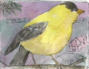 """Goldfinch ,"" a Bring-a-Smile watercolor by Clovis Heimsath, artist"