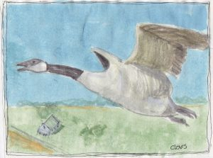 """Goose 2,"" a Bring-a-Smile watercolor by Clovis Heimsath, artist"
