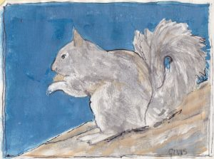 """Gray Squirrel 2,"" a Bring-a-Smile watercolor by Clovis Heimsath, artist"