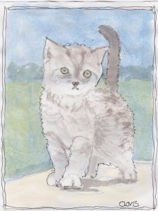 """Gray Cat 2,"" a Bring-a-Smile watercolor by Clovis Heimsath, artist"