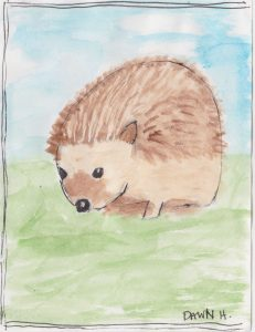 """Hedge Hog,"" a Bring-a-Smile watercolor by Dawn Heimsath, artist"