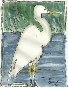 """Heron,"" a Bring-a-Smile watercolor by Clovis Heimsath, artist"