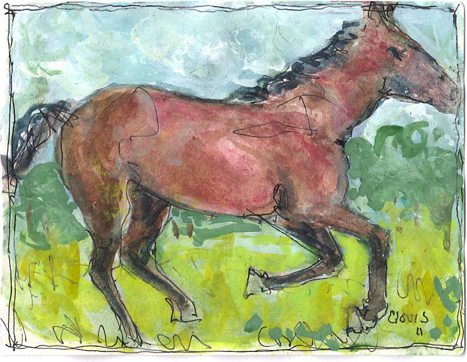 """Horse 2,"" a Bring-a-Smile watercolor by Clovis Heimsath, artist"