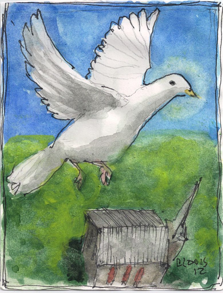"""Hs Dove,"" a Bring-a-Smile watercolor by Clovis Heimsath, artist"
