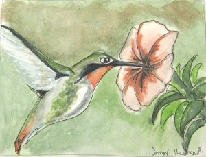 """Hummingbird,"" a Bring-a-Smile watercolor by Connor Heimsath, artist"
