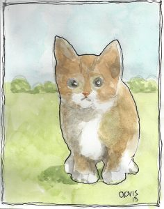 """Kitten ,"" a Bring-a-Smile watercolor by Clovis Heimsath, artist"