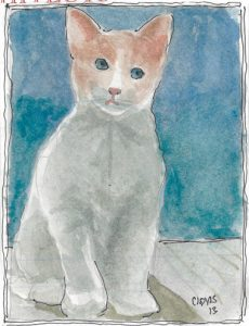 """Kitten,"" a Bring-a-Smile watercolor by Clovis Heimsath, artist"
