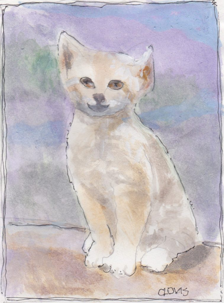 """Kitten 4 2,"" a Bring-a-Smile watercolor by Clovis Heimsath, artist"