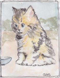 """Kitten 5,"" a Bring-a-Smile watercolor by Clovis Heimsath, artist"
