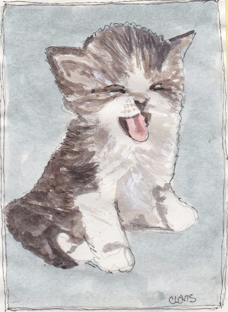 """Kitty,"" a Bring-a-Smile watercolor by Clovis Heimsath, artist"