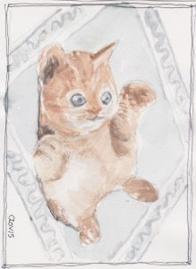 """Kitty On Back,"" a Bring-a-Smile watercolor by Clovis Heimsath, artist"