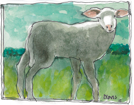 """Lamb,"" a Bring-a-Smile watercolor by Clovis Heimsath, artist"