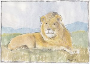 """Lion 3,"" a Bring-a-Smile watercolor by Clovis Heimsath, artist"
