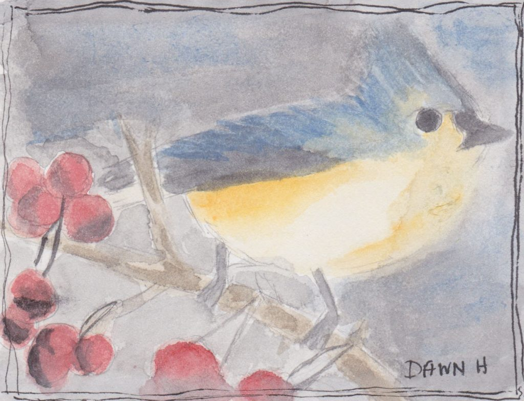 """Little Blue Bird,"" a Bring-a-Smile watercolor by Dawn Heimsath, artist"
