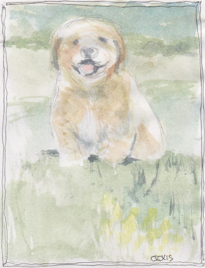 """Little Dog,"" a Bring-a-Smile watercolor by Clovis Heimsath, artist"