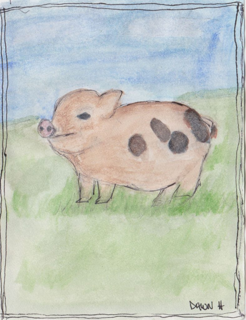 """Little Pig,"" a Bring-a-Smile watercolor by Dawn Heimsath, artist"