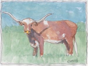 """Longhorn 2,"" a Bring-a-Smile watercolor by Clovis Heimsath, artist"