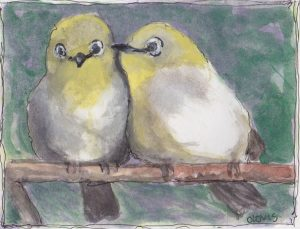 """Love Birds,"" a Bring-a-Smile watercolor by Clovis Heimsath, artist"