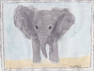 """Elephant,"" a Bring-a-Smile watercolor by Mallory Heimsath, artist"