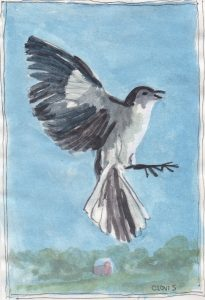 """Mockingbird,"" a Bring-a-Smile watercolor by Clovis Heimsath, artist"